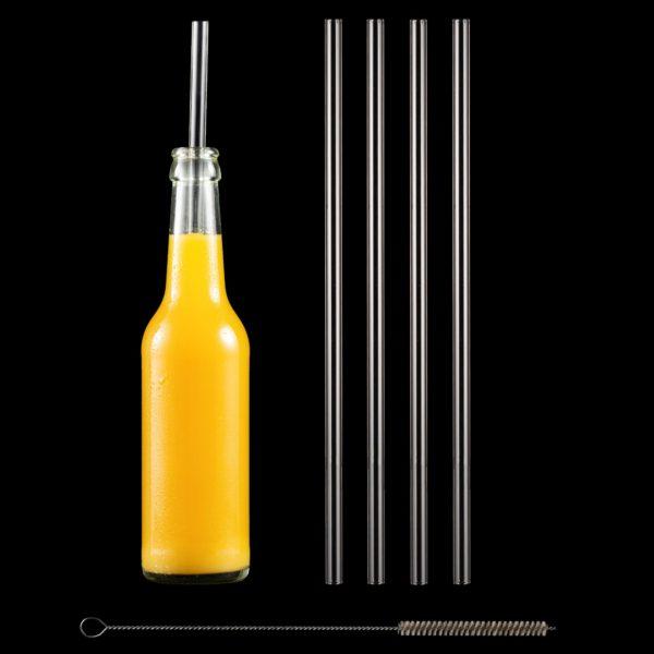 Freisteller Glastrinkhalme 30 cm im Set mit Reinigungsbürste