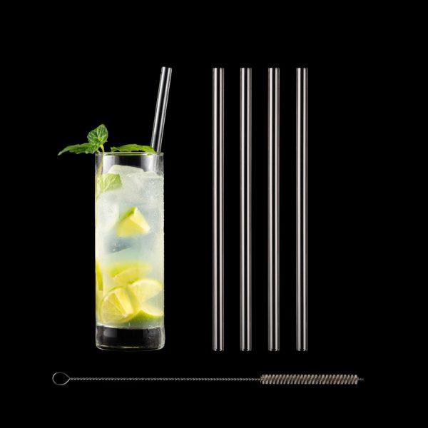 Freisteller Glastrinkhalme 23 cm im Set mit Reinigungsbürste
