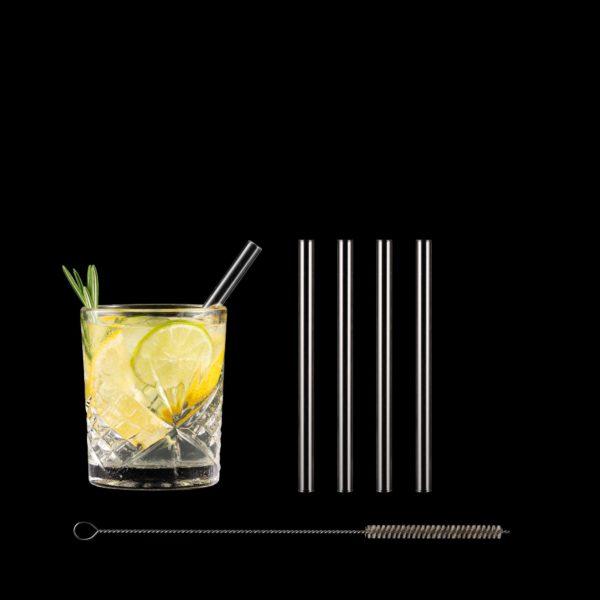 Freisteller Glastrinkhalme 15 cm im Set mit Reinigungsbürste