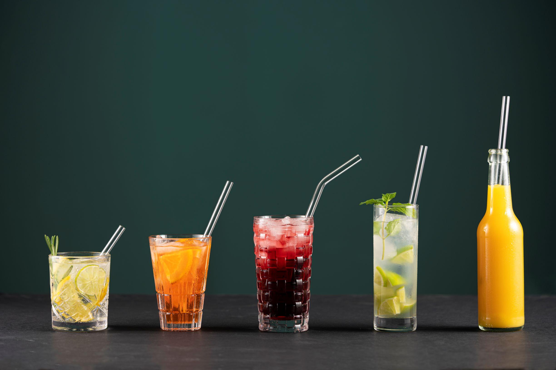 Wiederverwendbare Glastrinkhalme unterschiedliche Längen Gruppenbild
