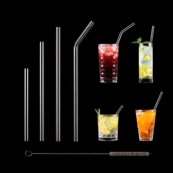 Glasstrohhalme in verschiedenen Längen
