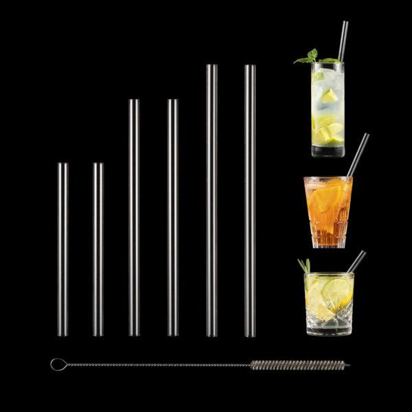 Glasstrohalme gemische Längen im Set